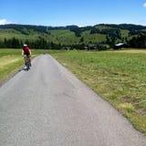 Ciclista in Alpe di Siusi Immagini Stock