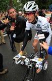 Ciclista Andrés Schleck Imagen de archivo libre de regalías