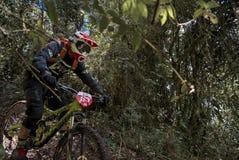 Ciclista che partecipa alla tazza di enduro MTB di Nariño fotografia stock