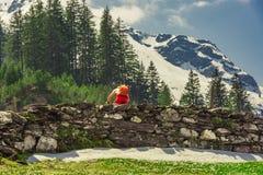 Ciclista che scala le alpi svizzere in primavera Fotografia Stock Libera da Diritti