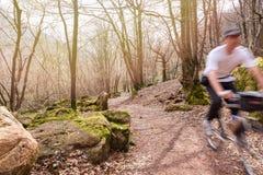 Ciclista con la bici de montaña en una trayectoria en el bosque, falta de definición de la suciedad de movimiento foto de archivo libre de regalías