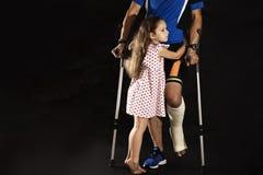 Ciclista con la frattura del tallone Fotografia Stock