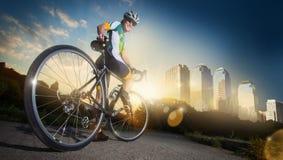 Ciclista del camino foto de archivo