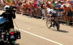 Ciclista di prova a cronometro Fotografia Stock