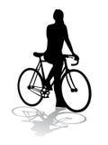Ciclista di vettore della siluetta Immagine Stock