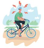 Ciclista di vettore, giovane con il casco royalty illustrazione gratis