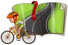 Ciclista e strada vuota nel libro illustrazione vettoriale