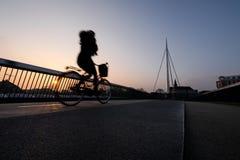 Ciclista em uma ponte da bicicleta em Odense, Dinamarca imagem de stock royalty free