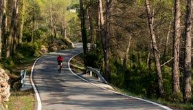 Ciclista en camino Fotografía de archivo libre de regalías
