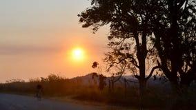 Ciclista en el camino abierto fuera de Harare, Zimbabwe imagenes de archivo