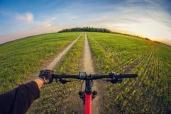 Ciclista en un camino de tierra en un campo para sembrar en la puesta del sol imagenes de archivo