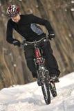 Ciclista estremo di MTB Fotografia Stock Libera da Diritti