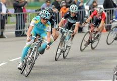 Ciclista Evgeni ruso Petrov de favorable Astana de las personas Imagenes de archivo