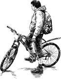 Ciclista fermato royalty illustrazione gratis