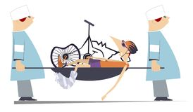 Ciclista herido, bici rota y ejemplo de dos médicos Ilustración del Vector