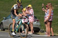 Ciclista holandés Robert Gesink en la ventaja Imágenes de archivo libres de regalías