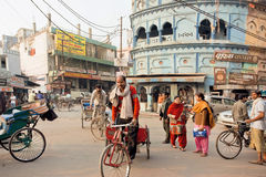 Ciclista idoso que conduz na rua indiana ocupada com veículos e as casas antigas fotos de stock royalty free