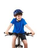 Ciclista isolado no fundo branco Fotos de Stock Royalty Free