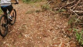 Ciclista maschio che cicla nella foresta stock footage