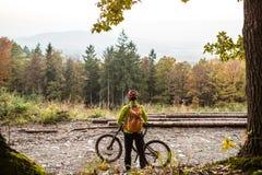 Ciclista in mountain-bike che esamina il paesaggio d'ispirazione della foresta Fotografia Stock