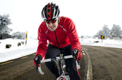 Ciclista na estrada Foto de Stock Royalty Free