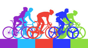 Ciclista na raça de bicicleta ilustração royalty free