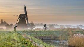 Ciclista nel paesaggio di primo mattino Fotografia Stock