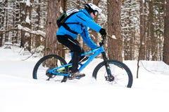 Ciclista no azul que monta o Mountain bike no inverno bonito Forest Extreme Sport e no conceito Biking de Enduro Imagens de Stock Royalty Free