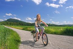 Ciclista pieno di sole Fotografia Stock