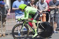 Ciclista profesional durante el prólogo del viaje del d'Italia del giro del giro Imágenes de archivo libres de regalías