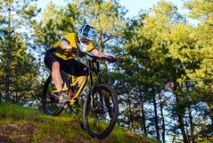 Ciclista profesional en camiseta amarilla y casco que monta la colina de la bici abajo en Forest Extreme Sport Concept Foto de archivo libre de regalías