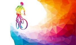 Ciclista profissional envolvido em uma raça da bicicleta Baixo poli poligonal Fotografia de Stock