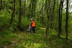 Ciclista que monta la bici en un rastro en bosque del verano Fotografía de archivo