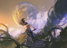 Ciclista que monta una bici de montaña que sube en el pico rocoso Imágenes de archivo libres de regalías
