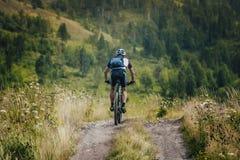 Ciclista que vem para baixo da parte superior da montanha Imagens de Stock Royalty Free