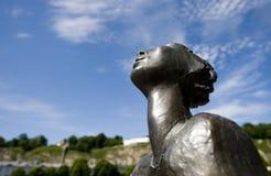 Ciclista/Radfahrer de la estatua de Lotte Ranft en Salzburg Imágenes de archivo libres de regalías