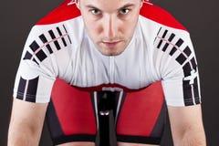 Ciclista su una bicicletta Fotografia Stock