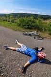Ciclista Tired Imagem de Stock Royalty Free
