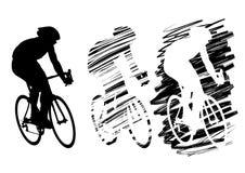 Ciclista três no movimento Foto de Stock