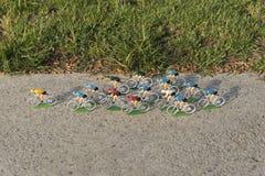 Ciclistas coloridos plásticos da estrada exteriores no asfalto Líder amarelo do jérsei competição Peloton Fotografia de Stock Royalty Free