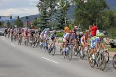 Ciclistas de ciclagem do estágio 5 do desafio dos EUA PRO Fotografia de Stock