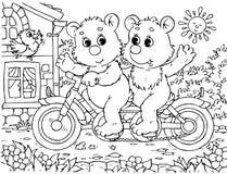 Ciclistas engraçados dos ursos Fotografia de Stock Royalty Free