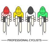 Ciclistas planos en amarillo, verde, stock de ilustración