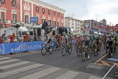 Ciclistas profesionales Foto de archivo