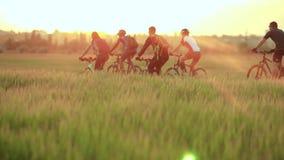 Ciclistas que montan las bicicletas almacen de metraje de vídeo