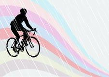 Ciclistas um na estrada ilustração do vetor