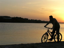 Cicliste at the sunset Stock Images