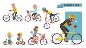 Ciclisti messi Immagini Stock Libere da Diritti