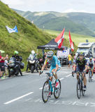 Ciclisti sul passo de Peyresourde - Tour de France 2014 Immagine Stock