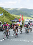 Ciclisti sul passo de Peyresourde - Tour de France 2014 Immagini Stock